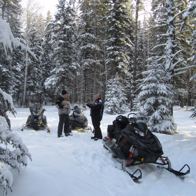 Dennis Irving, special projects, and Dave Bilsky, club president, checking out the trails before the annual club rally at the Junction off of the Trans Canada Snowmobile Trail to Grassy Lake and beyond.