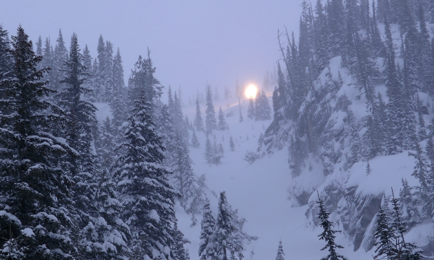 That's not the sunrise coming over the mountain—that's avalanche control being carried out by a Gazex exploder detonating at Kootenay Pass.