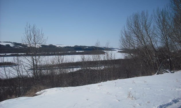 View of North Saskatchewan River at River View Chalet on Route 101B.