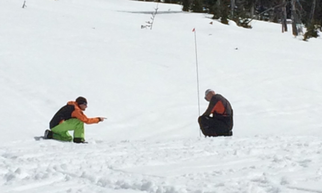 Marshall Dempster shows Blair Trueman the ropes on avalanche probe skills in the AST 1 course from Frozen Pirates Snow Services in Valemount, B.C.