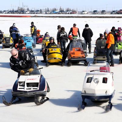 Vintage snowmobilers at CPTC.