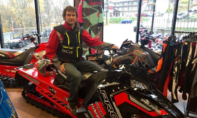 Aaron Seminoff of Main Jet Motorsports in Nelson won't ride without a chest protector anymore. He is showing off the new BCA Float MTNPRO Vestairbag combo.