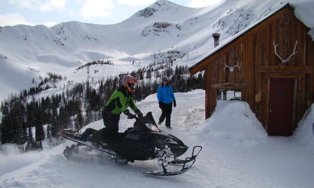 Man on a snowmobile