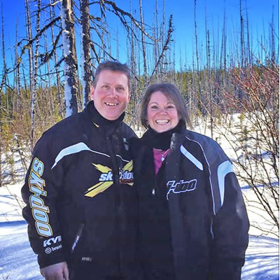 Debbie and her husband Scott, who is her inspiration to ride.