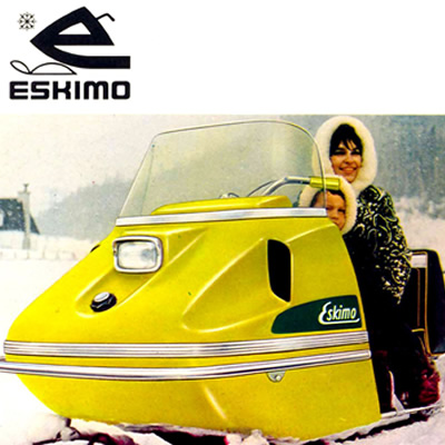 A vintage advertisement for the Eskimo snowmobile.