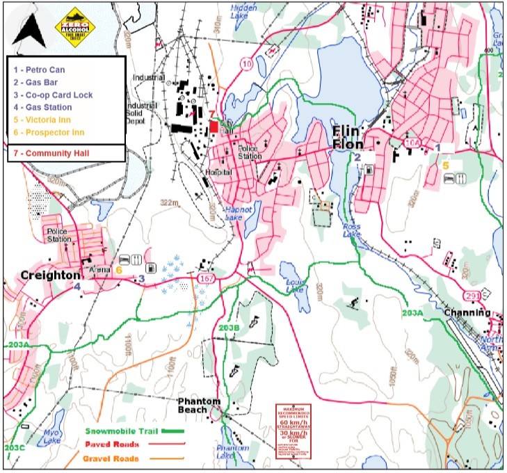 Flin Flon trail map.