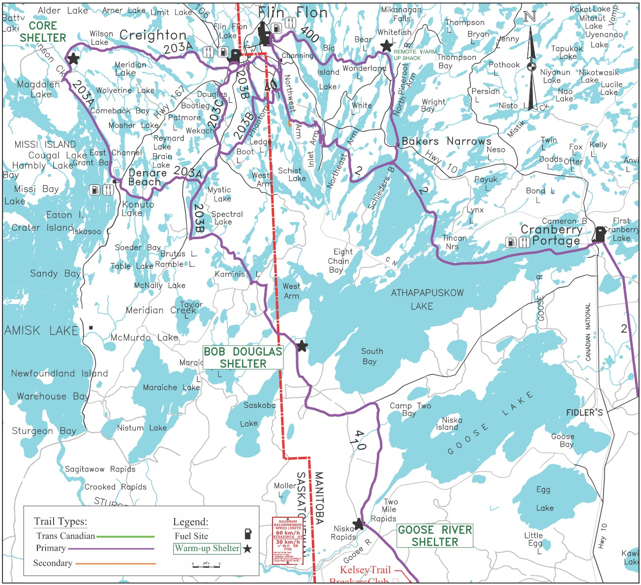 Greater Flin Flon area trail map.