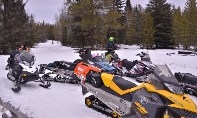 Snowmobiles on a trial