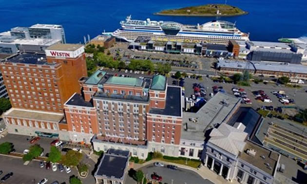 Aerial view of hotel in Halifax, Nova Scotia.