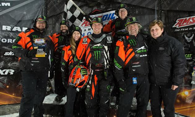 Team #68 celebrates their win at the podium!