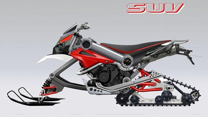 An artist's sketch of the long vaunted and widely rumoured Honda snowmobile.