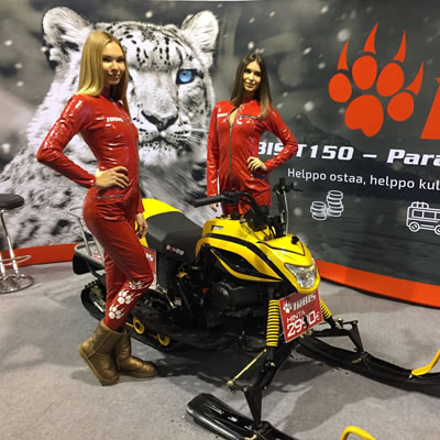 The T150 Russian IRBIS snowmobile on display at a recent trade show.