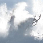 Man on a snowmobile in powder