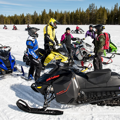Group of snowmobilers.