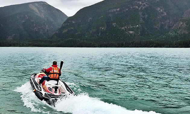 Search and Rescue watercraft on lake.
