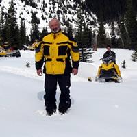 Jerry Bidulock (front) loves winter exploring from his Ski-Doo