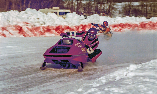 Rudi Gretschman raced snowmobiles in Manitoba for 10 years. Here he is on a Rupp snowmobile in 1975.
