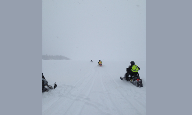 Crossing Setting Lake near Wabowden.