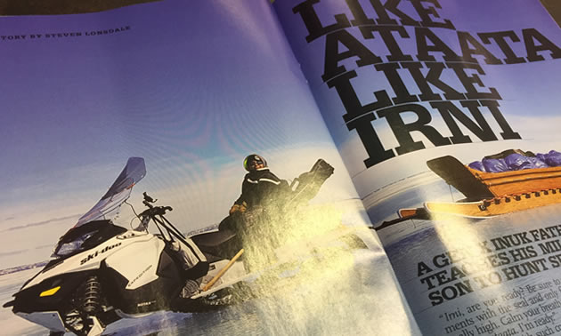 An open magazine, showing an article.