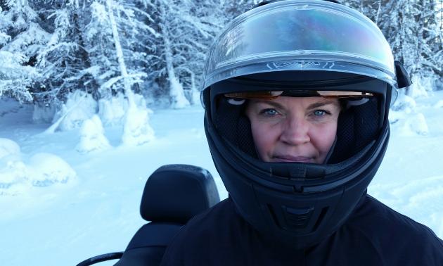 MaryAnne Larson selfie with helmet on