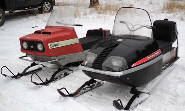 A vintage Mercury sled and a Ski-Whiz sled.