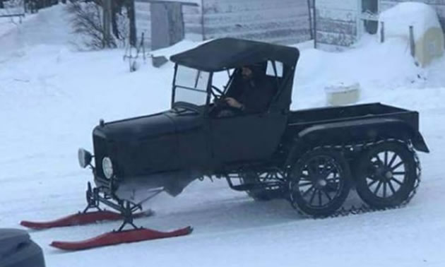 1927 Ford Model T modded into sled.