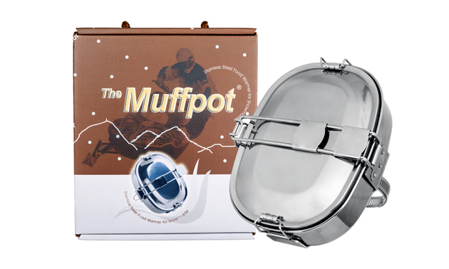 The original Muffpot by the company Muffpot. It is a food grade steel cooking pot for snowmobiles and ATVs.