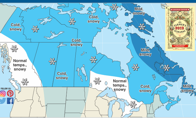 The Old Farmer's Almanac weather map of Canada for winter 2018-2019.