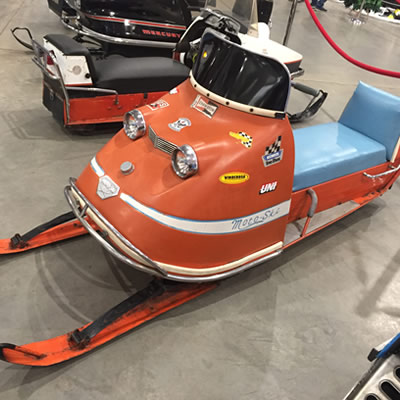 A sporty-looking little Moto-Ski sled