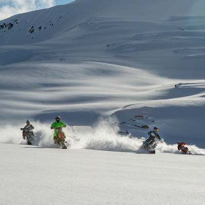 Reagen Sieg, Robbie Maddison, Darren Berrecloth and Brock Buttars snow bike in Braloren, British Columbia, in February 2017.