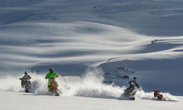 Reagen Sieg, Robbie Maddison, Darren Berrecloth and Brock Buttars snow bike in Braloren, British Columbia, in February 2017.