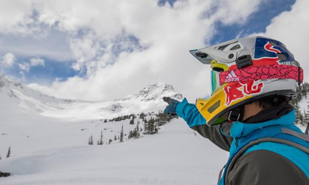 Darren Berrecloth snow bikes in Bralorne, British Columbia, in February 2017.