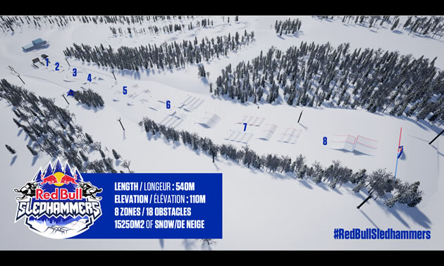 Check out the unique race elements in this digital representation of Red Bull Sledhammers 2018 in Saint-Donat.