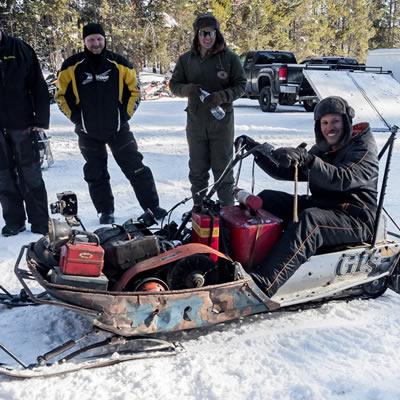 A complex and unique snowmobile.