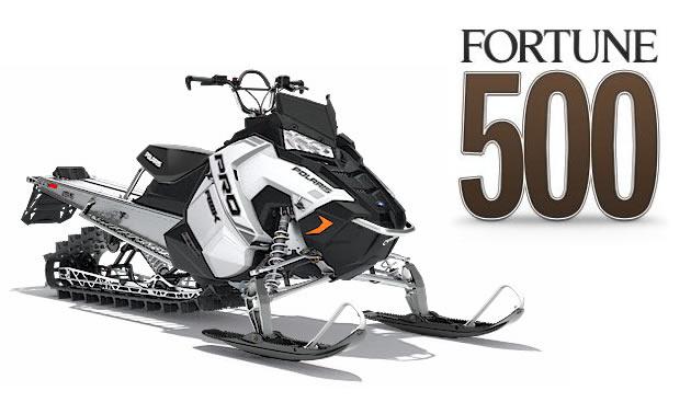 Polaris snowmobile, with Fortune 500 logo.