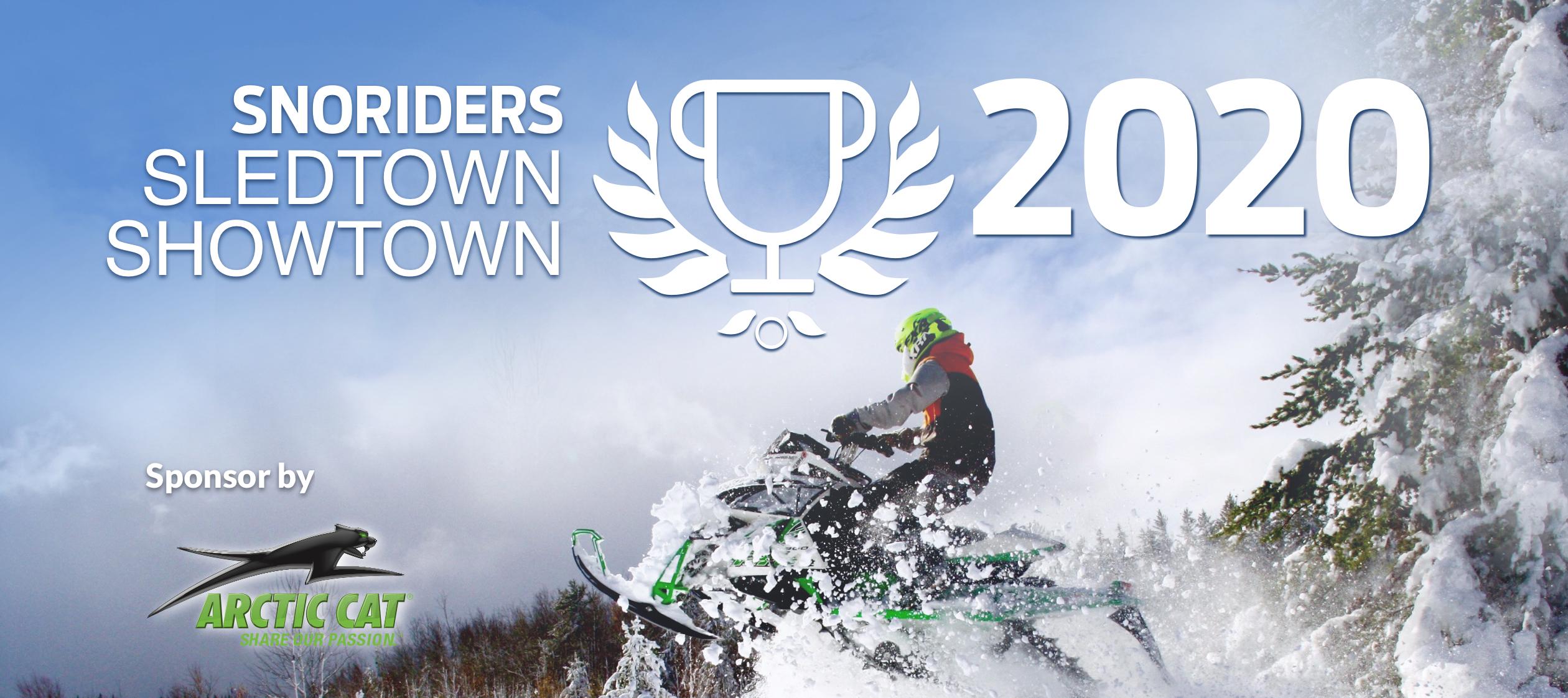 Snowmobile jumping into 2020 sledtown showdown logo