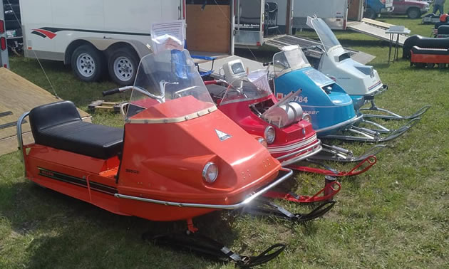 Vintage snowmobiles at the Vintage Snowmobile Show in Saskatchewan.