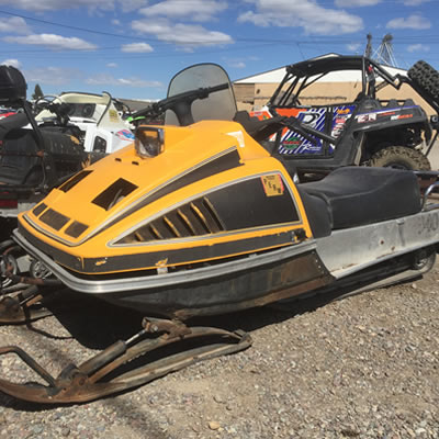 One of the only sleds to be left untouched in a tragic fire, a Ski-Doo 340.