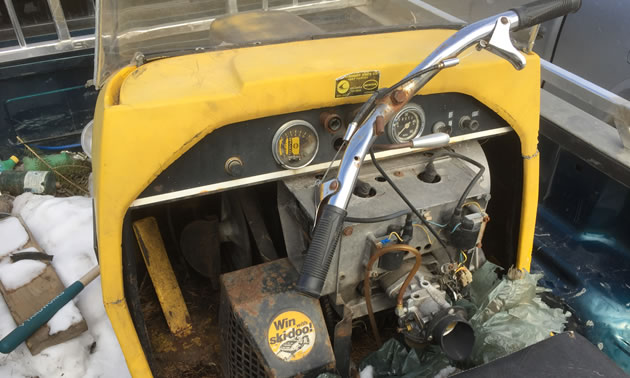 A close-up of the dashboard of the Ski-Doo Alpine Invader.