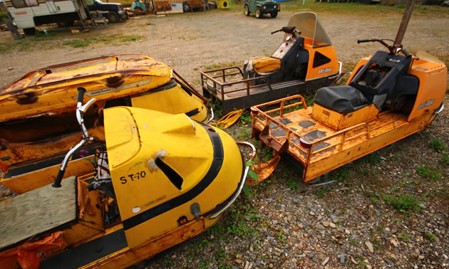 Yellow Ski-Doo Alpine snowmobile.
