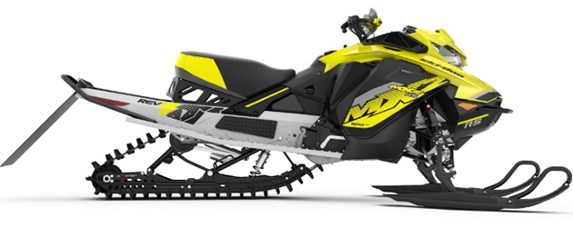 Side view of the 2018 Ski-Doo MXZx 600RS E-TEC racing snowmobile.