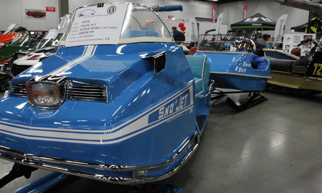 A 1970 Sno-Jet on display at the Edmonton Snowmobile Show.