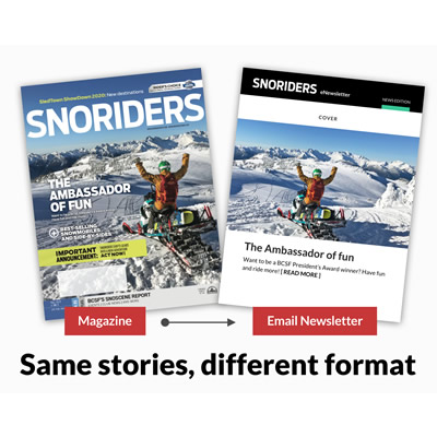 Picture of magazine version of SnoRiders versus a digital version.