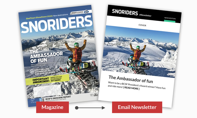 Picture of magazine version of SnoRiders versus a digital version.
