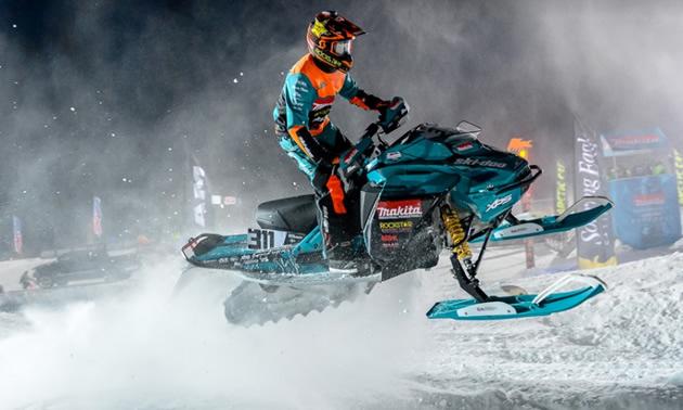 Ski-doo racer on track.