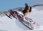 Snowmobiler in action