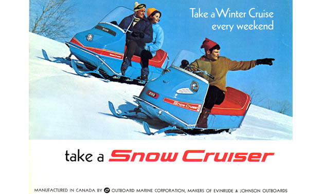 Snow Cruiser vintage ad showing two blue sleds on a snow-covered hill.