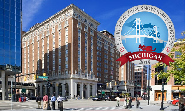 Street scene in downtown Grand Rapids, Michigan with Snowmobile Congress logo.