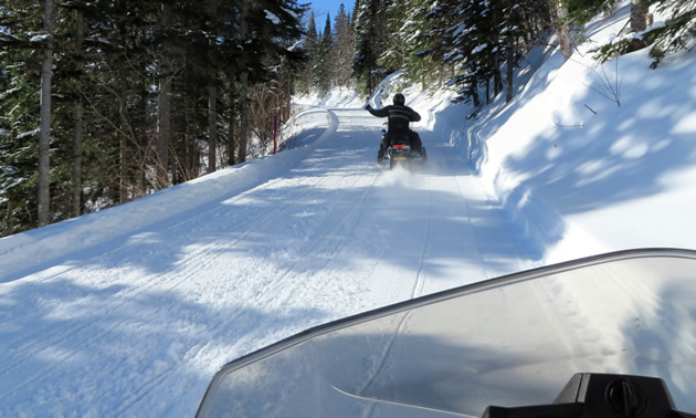 A snowmobiler travels down a groomed trail in the St. Paul region of Alberta.