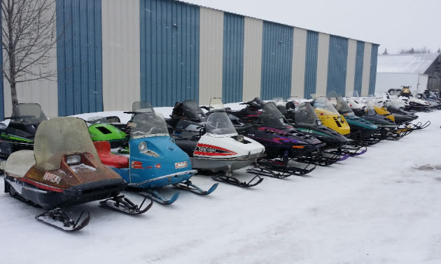 A line-up of vintage sleds.